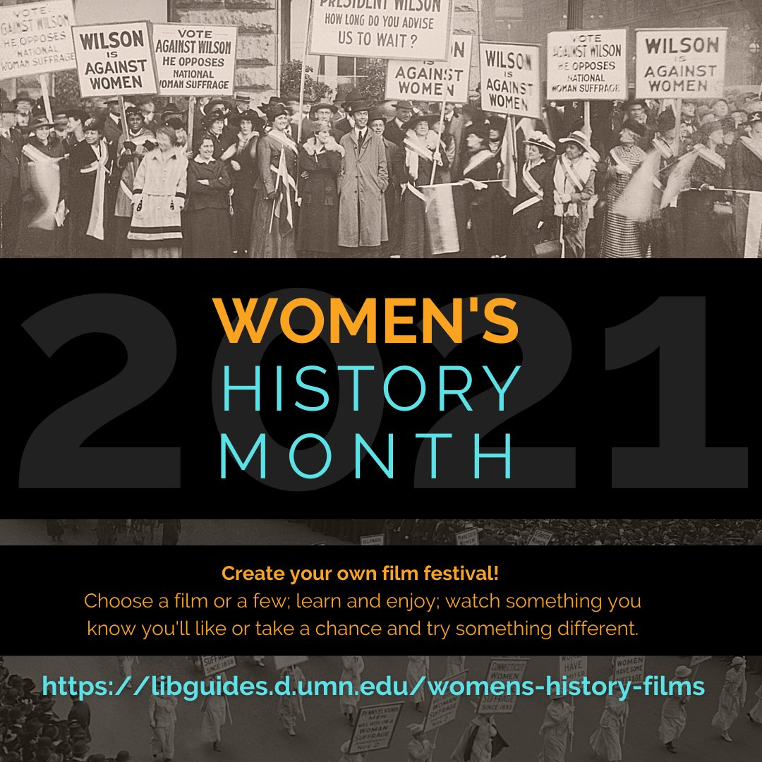 Create your own little film festival in honor of #womenshistorymonth with this handy guide.  All films are available to stream for free through the Library.