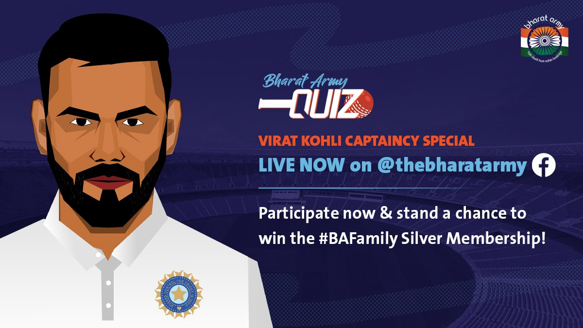 🚨🚨 CONTEST ALERT! The Bharat Army Virat Kohli Captaincy Special quiz contest is LIVE on our Facebook handle.  Participate NOW:   #BharatArmyQuiz #INDvENG #BharatArmy