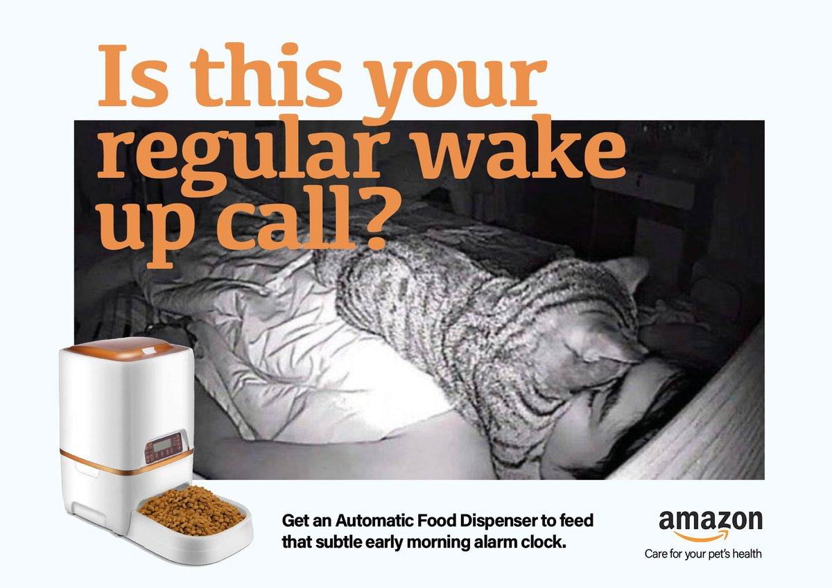 Is this your regular wake up call?   @OneMinuteBriefs of the Day: Advertise #ALARMCLOCKS  #creative #advertising #design #cat #FoodDispenser #WakeUpCall #SleepProblems @amazon