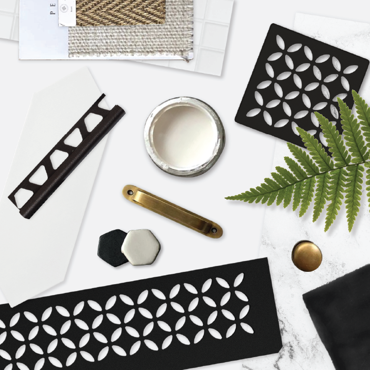 Nothing like the sophistication of black, white & gold to inspire your next project, with Schluter-Systems North America products. #moodboard @schluterNA  #style #design #remodeling #renovation #shower #tile #bathroom #homeimprovement