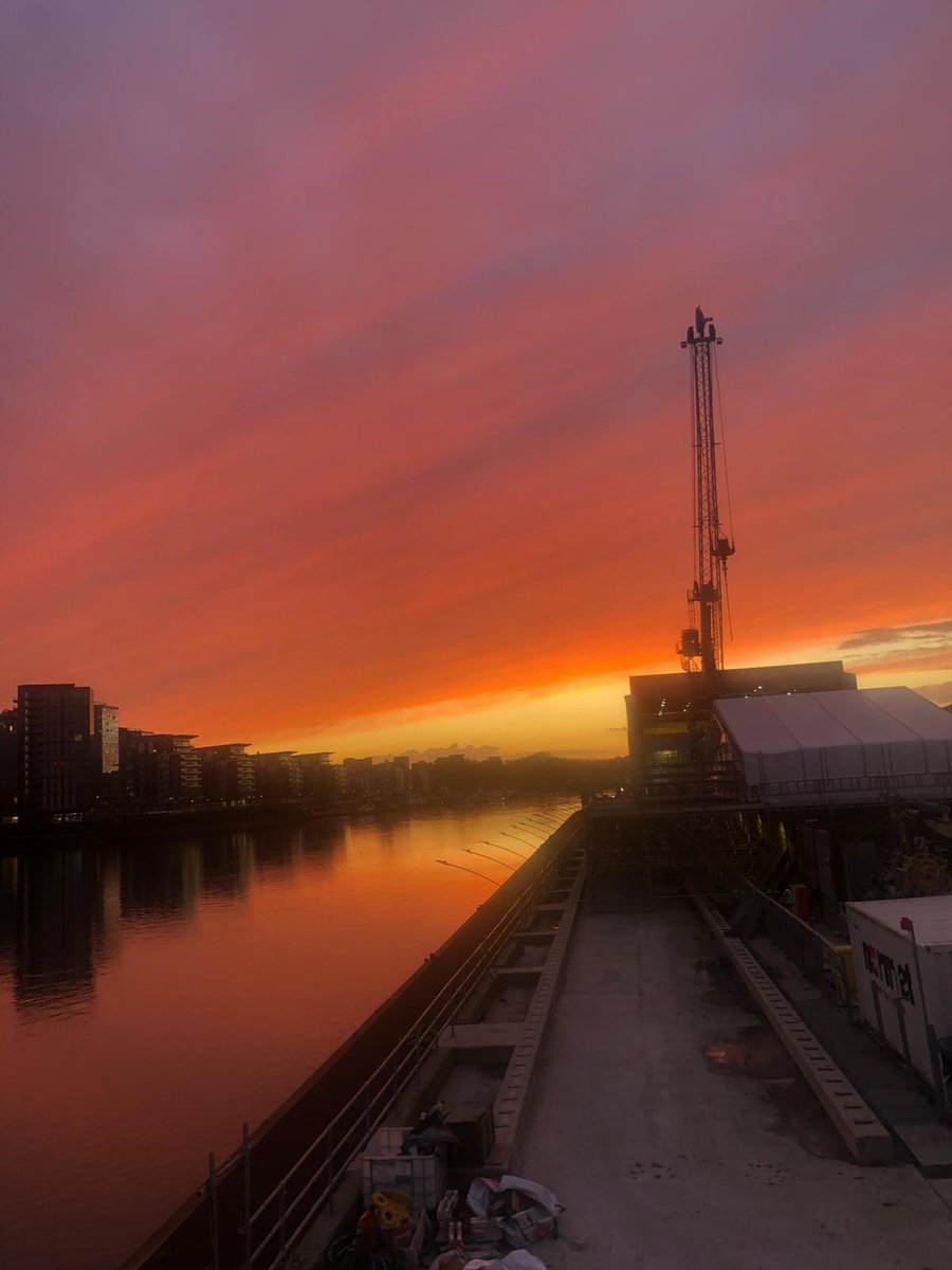 River reflections   Sunset over the Carnwath Road riverside site for London's #SuperSewer…