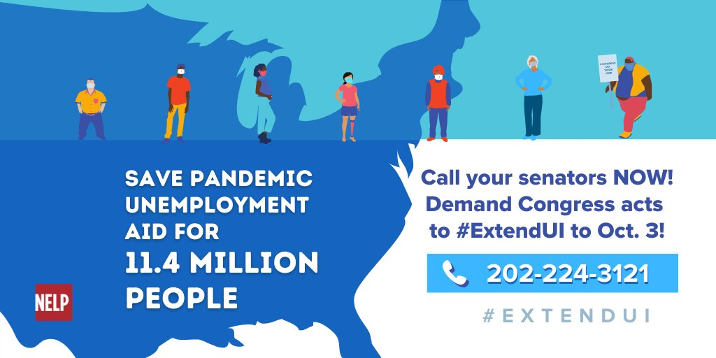 11.4 million people–that's more than NYC + Chicago—will lose their pandemic unemployment insurance starting March 14 unless the Senate acts. Tell your senators to #ExtendUI to Oct. 3 in the #AmericanRescuePlan to provide #ReliefNow! Call your senators today: 202-224-3121.