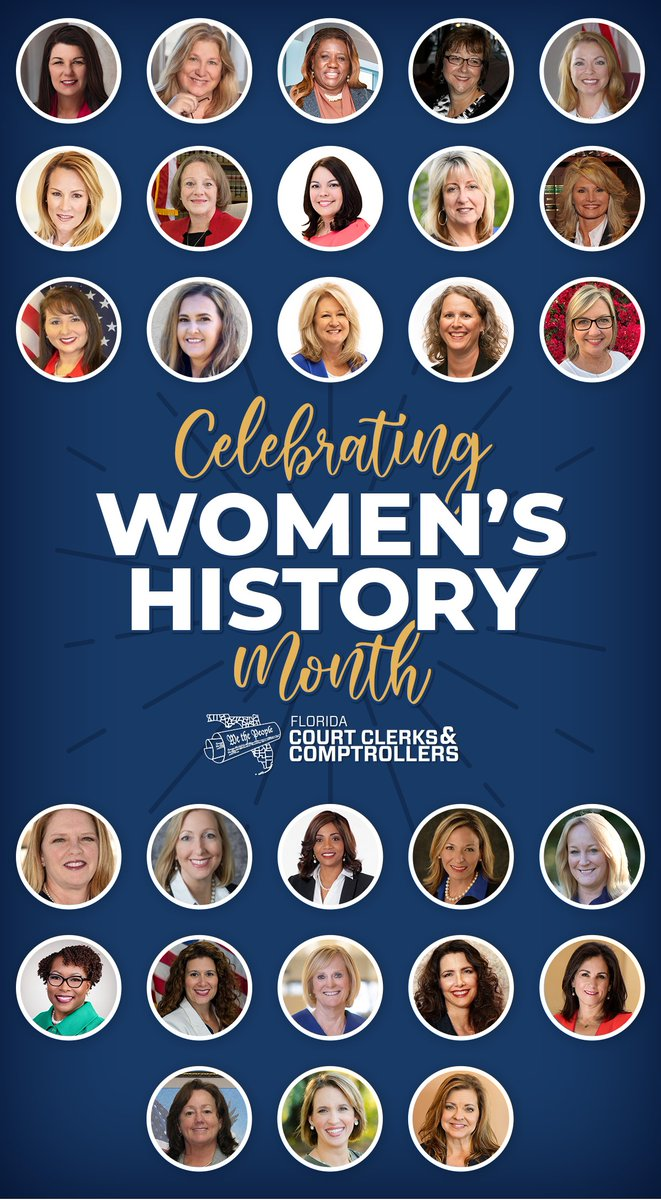 As we recognize the achievements of women during #WomensHistoryMonth, we would like to highlight the contributions of Florida's 28 female Clerks of Court whose leadership and dedication continue to shape Florida's communities.  #FLClerks