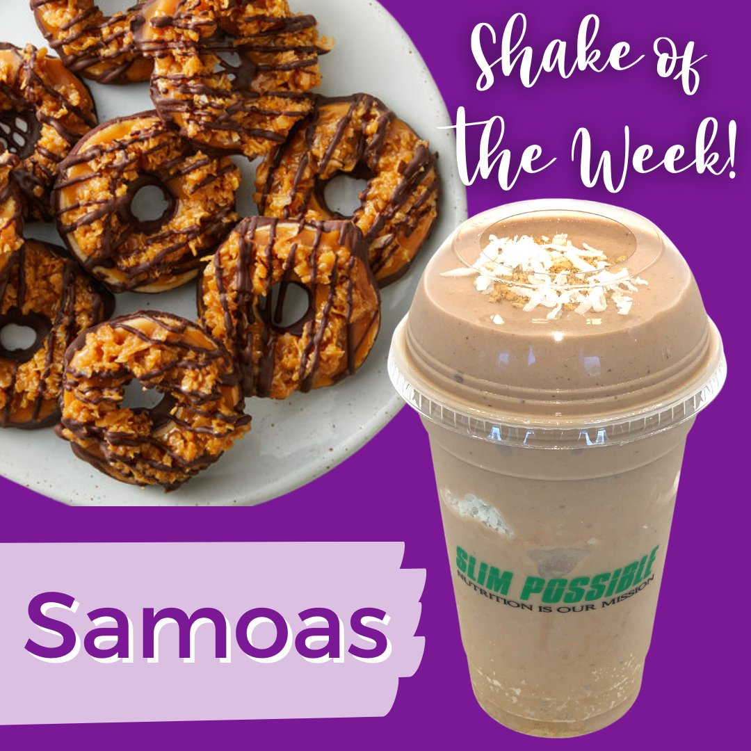 It's that time of year again! Try our special Girl Scout inspired shake of the week Samoas! #nutrition #shakes #personalizednutrition  #slimpossible #healthcoach #health #healthylifestyle #fitness #nutrition #wellness #motivation #healthyfood #weightloss #nutritionist #healthy