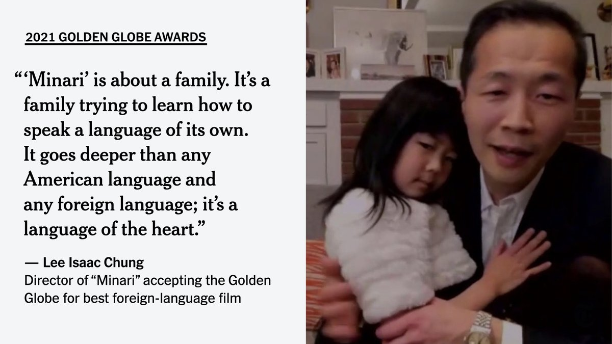 "The director of ""Minari,"" Lee Isaac Chung, nodded to the controversy over the decision to move his movie to the foreign-film category when he accepted his Golden Globe. The movie was filmed entirely in the U.S., but its characters often speak in Korean."