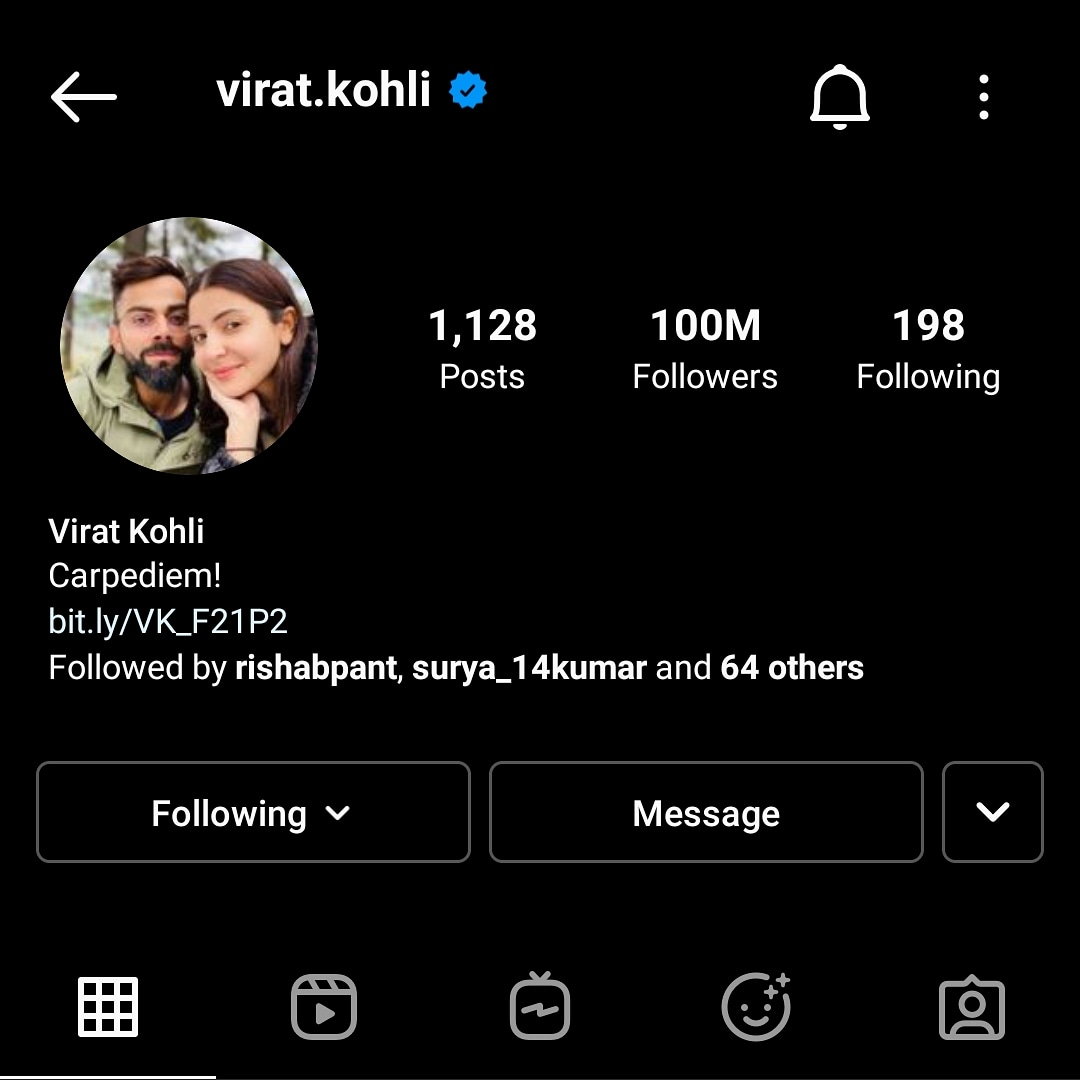#kingkohli #100million  #Instagram