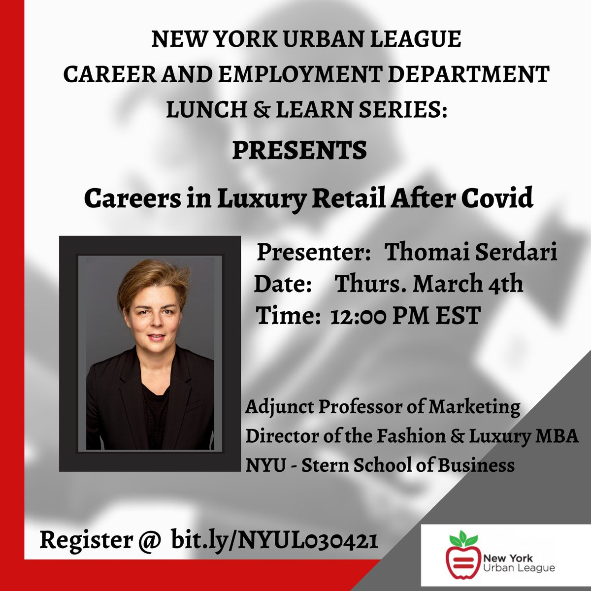 """Join the @NYUrbanLeague Lunch & Learn Series for an in-depth look at """"Careers In Luxury Retail After Covid"""" w/ @Thomai   Thursday March 4th @ 12PM EST  Register:   #retail #career #jobs #covid #NYUL #NYC"""