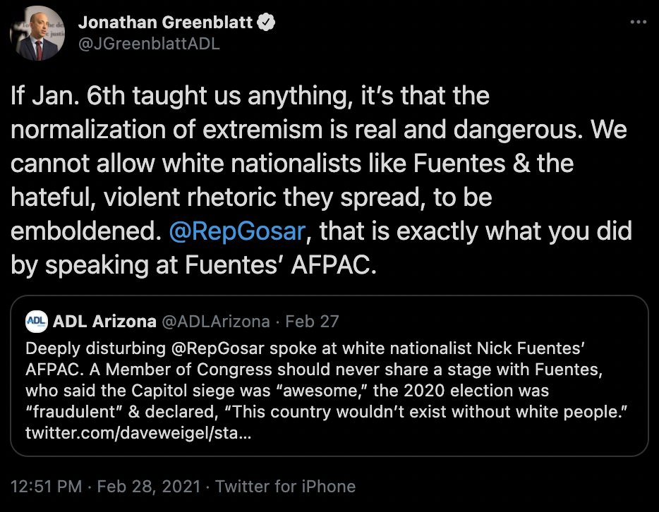 When SNL made an accurate joke about inequality in Israel, @JGreenblattADL reached out personally to Lorne Michaels to urge him to repair the damage done.  When a Republican Congressman meets with a Nazi-sympathizing holocaust denier, @JGreenblattADL tagged him on twitter.