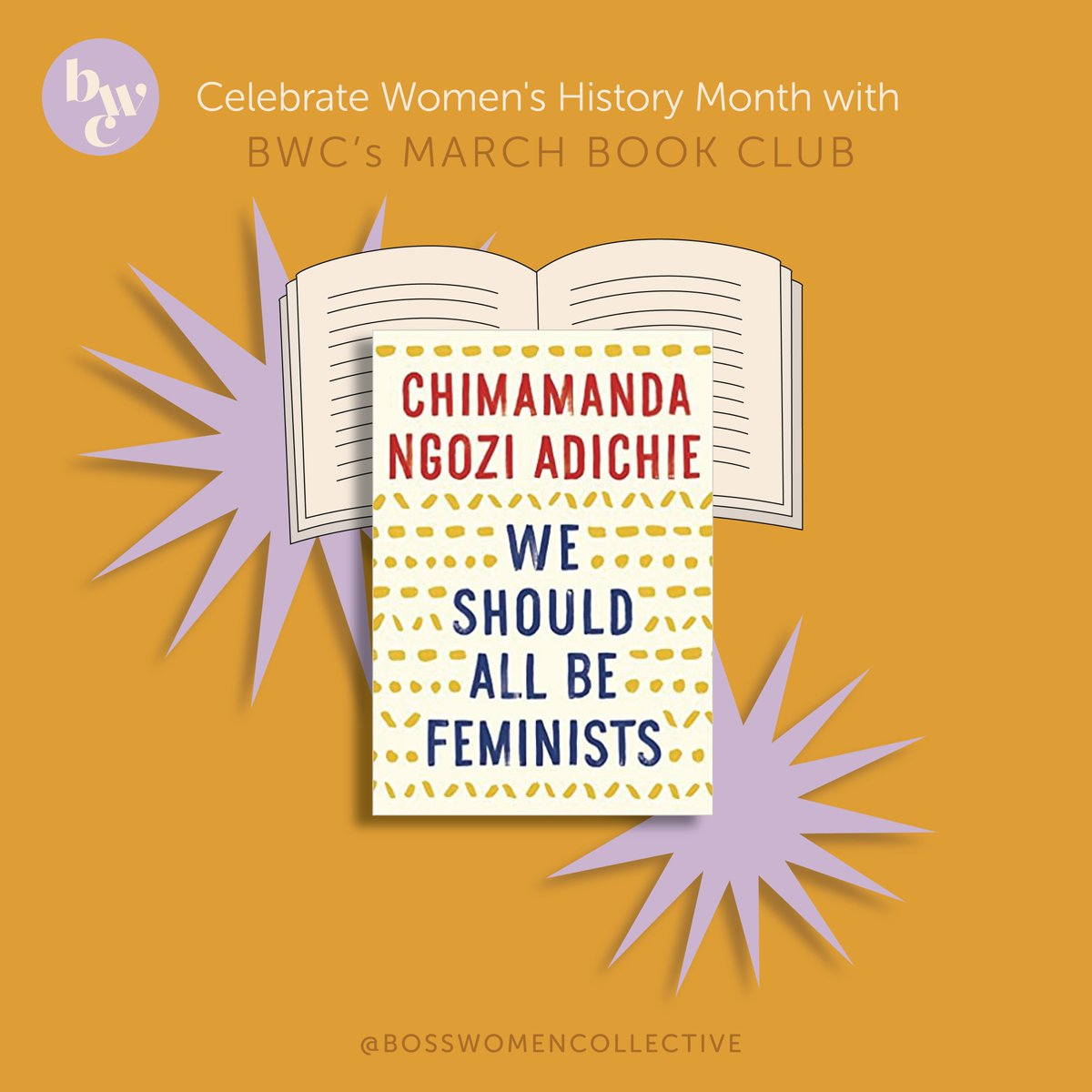 🥁 Cues Drum Roll 🥁 We are SO excited to announce our March Book Club 📖 in celebration of #WomensHistoryMonth which will be 'We Should All Be Feminists' by Chimamanda Ngozi Adichie 💕   Sign-up before 3/5 to join us! 📚😍