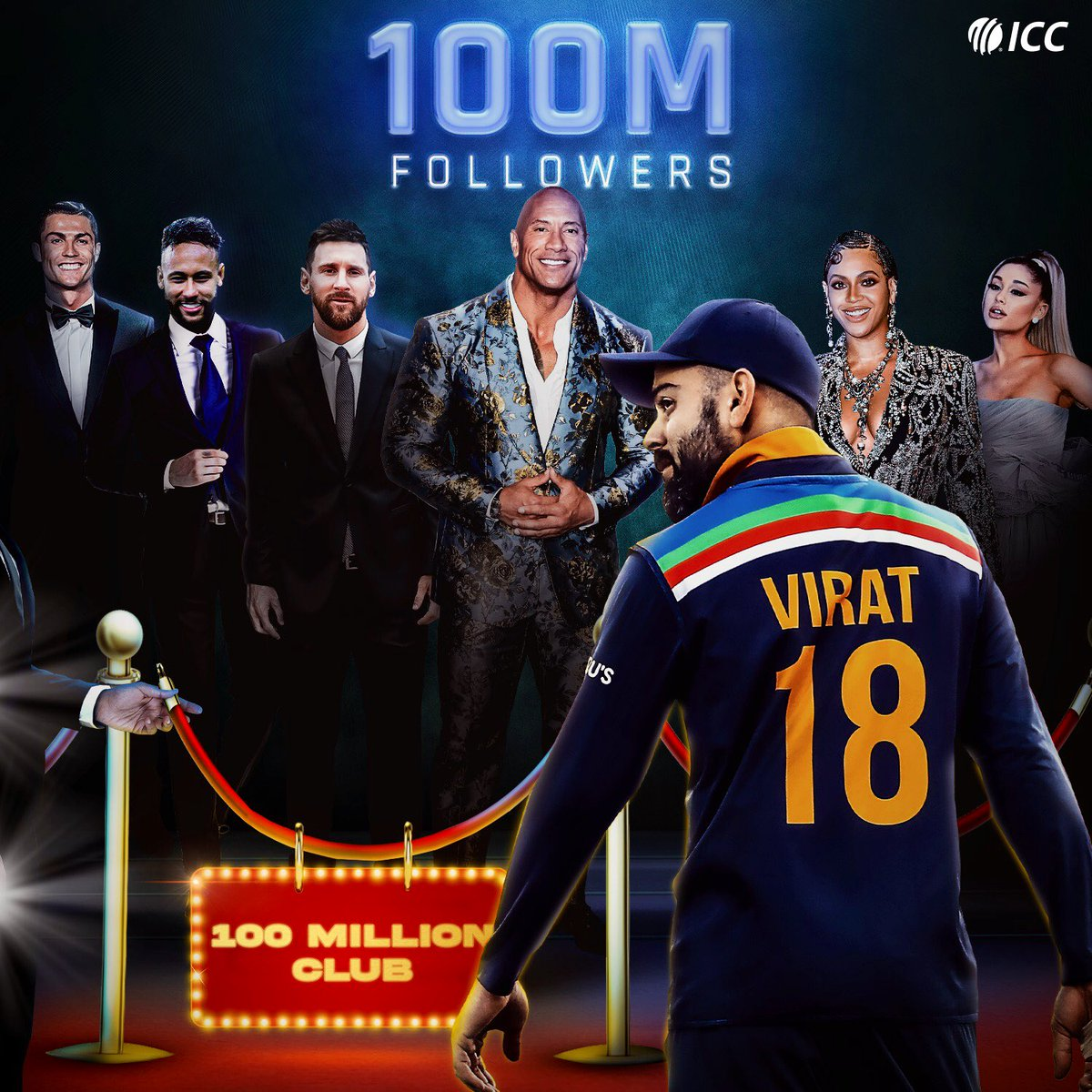 Virat Kohli - the first cricket star to hit 100 million followers on Instagram 🎉