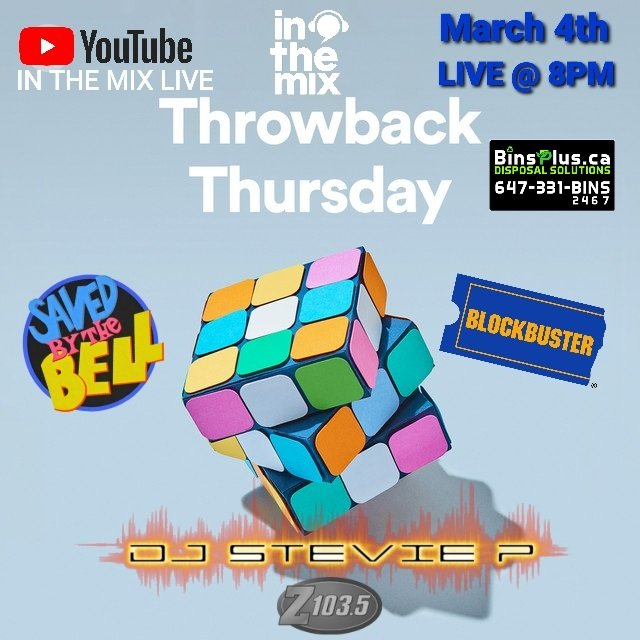 THIS THURSDAY NIGHT LIVE ON #YOUTUBE @DJ_StevieP RETURNS FOR SERIES 2 OF #ThrowbackThursday ON IN THE MIX LIVE @ 8PM #WAYBACKS #Z1035 #LIVEDJ #LIVESTREAM #INTHEMIX #MCFABP #DJEZIO #TORONTO #CANADA #USA #NEWJERSEY #OTTAWA #MONTREAL #VAUAGHANMOMS #CANCUN #EURONATION  #ONAIR