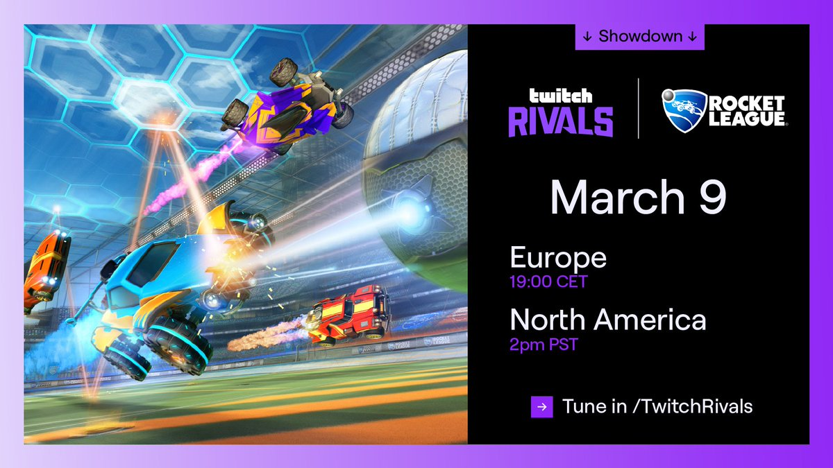 We had a ball the last time, so we're bringing it back again.  EU and NA. Creators and Pros.   The crew battle is on in the Twitch Rivals: @RocketLeague Showdown.  Starting 3/9 at 10am PT / 19:00 CET at