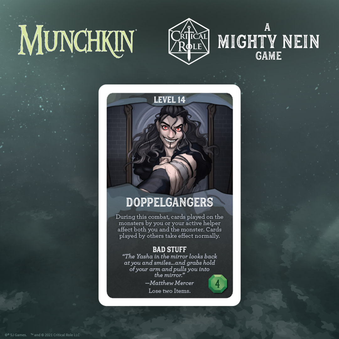 Wildemount's most threatening adversaries are lurking behind the Door. In #MunchkinCriticalRole, use your Guest Stars and Items to defeat monsters, or sic' em on your opponents. Learn more about the new tabletop adventure now!  @CriticalRole @SJGames