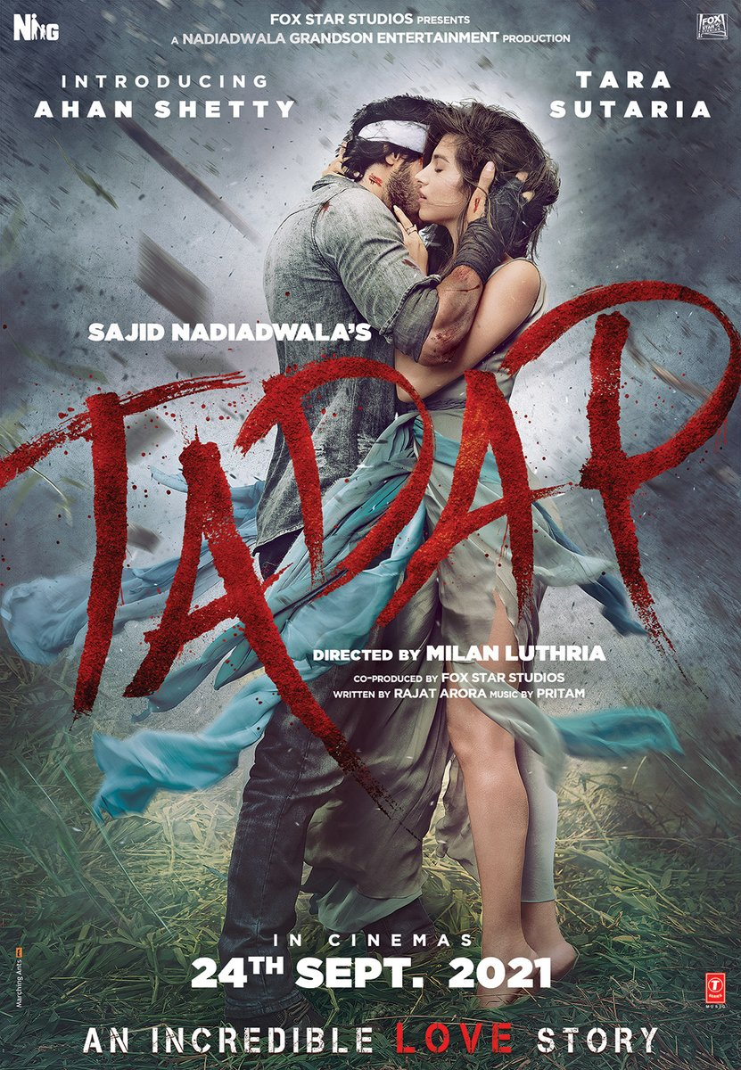 Big day for you Ahan...I still remember seeing your father, @SunielVShetty's first film, Balwaan's poster and today I'm presenting yours.... so happy and proud to share the poster of #SajidNadiadwala's #Tadap *ing #AhanShetty and @TaraSutaria, releasing in cinemas on 24th Sept!