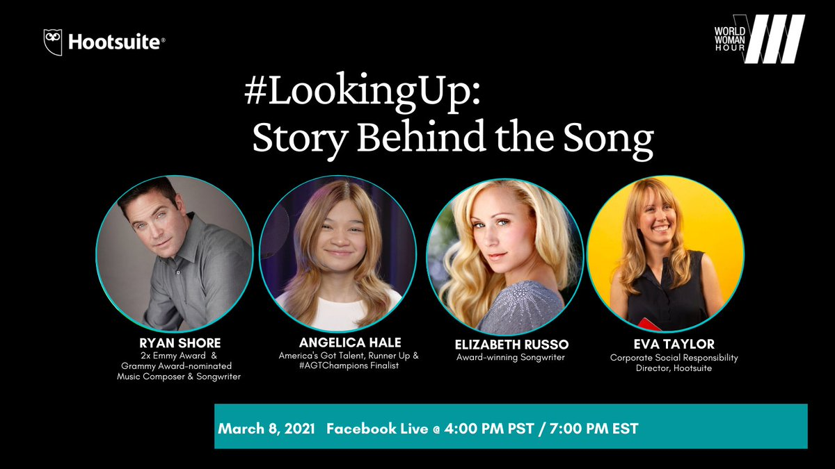 Who are your heroes?   Join us in partnership with @worldwomanfund for an inspirational Facebook Live chat on #InternationalWomensDay with America's Got Talent star, @angelicahale, and the talent behind her hit single #LookingUp  Mark your calendar: