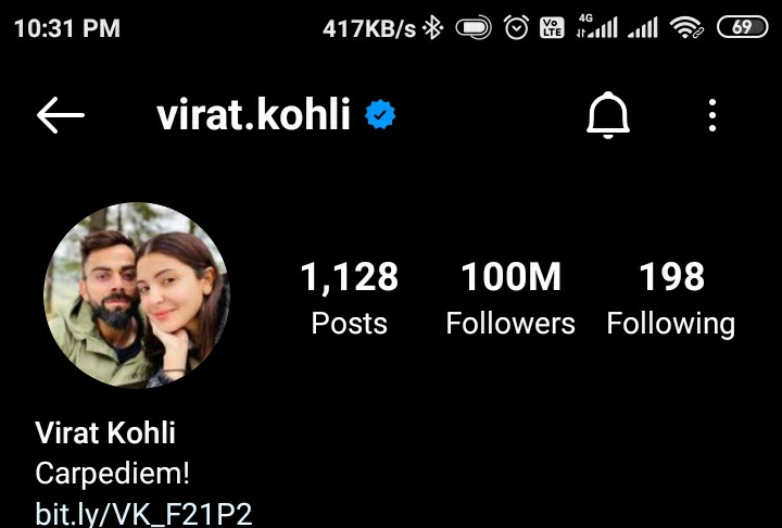 Congratulations ! Virat kohli bhaiya for 100M on Instagram #ViratKohli #TeamIndia #RCB #Instagram