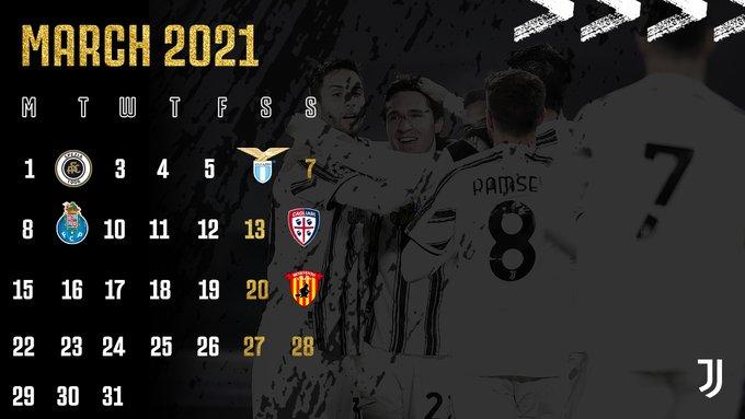 Jadwal Laga Juventus di bulan Maret 2021