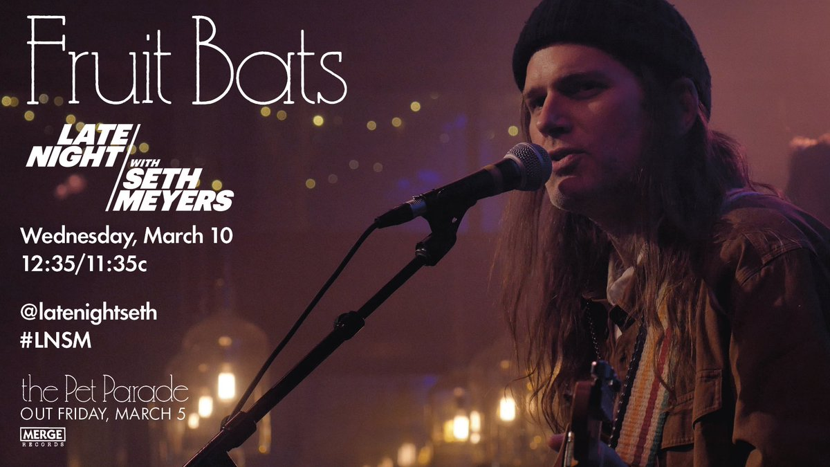Fruit Bats are coming to your TV set next week. #LNSM
