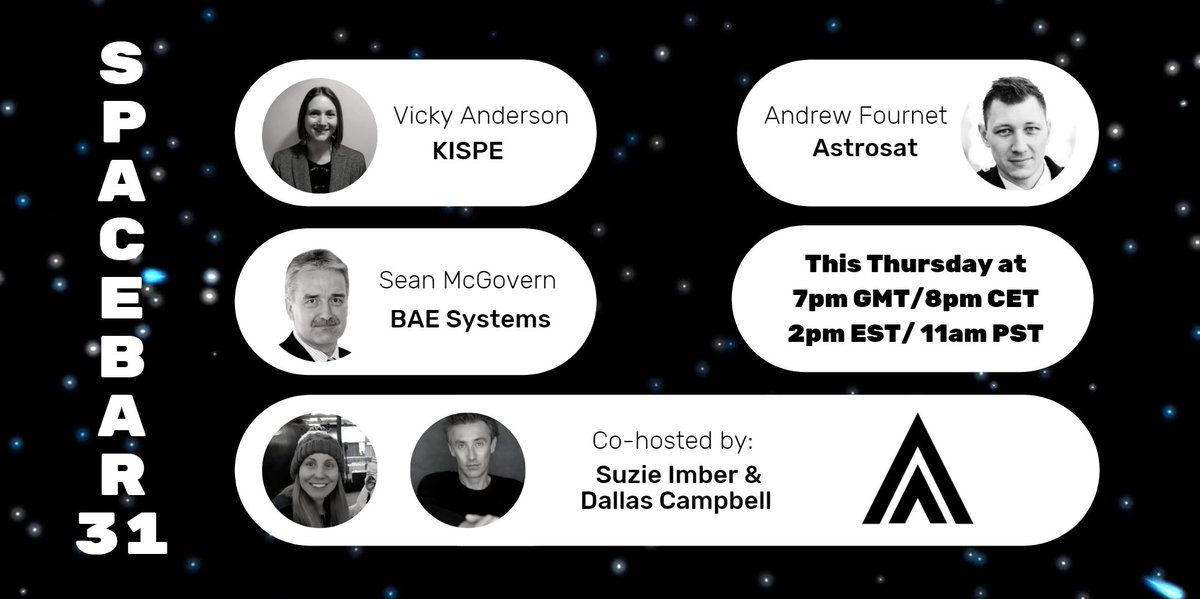 Have you got your free tickets for #SpaceBar30 yet? 🎟 Dont miss out on three great panels from @KISPE_LTD, @astrosat_UK and @BAESystemsAir which will be co-hosted by @dallascampbell & @suzieimberspace! ⭐ Grab your free tickets now: bit.ly/3qjOlgq #PositiveIsolation