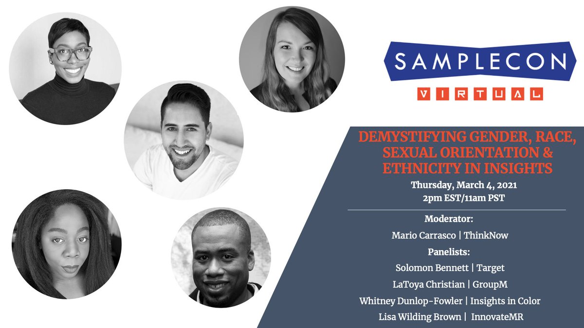 Who else is excited to hear this dynamic conversation and learn more about how we ask questions in a more inclusive way while keeping the integrity of research done in the past. #samplecon @ThinkNowTweets @Target @InsightsInColor @InnovateMR @GroupMWorldwide #newmr #mrx #insights