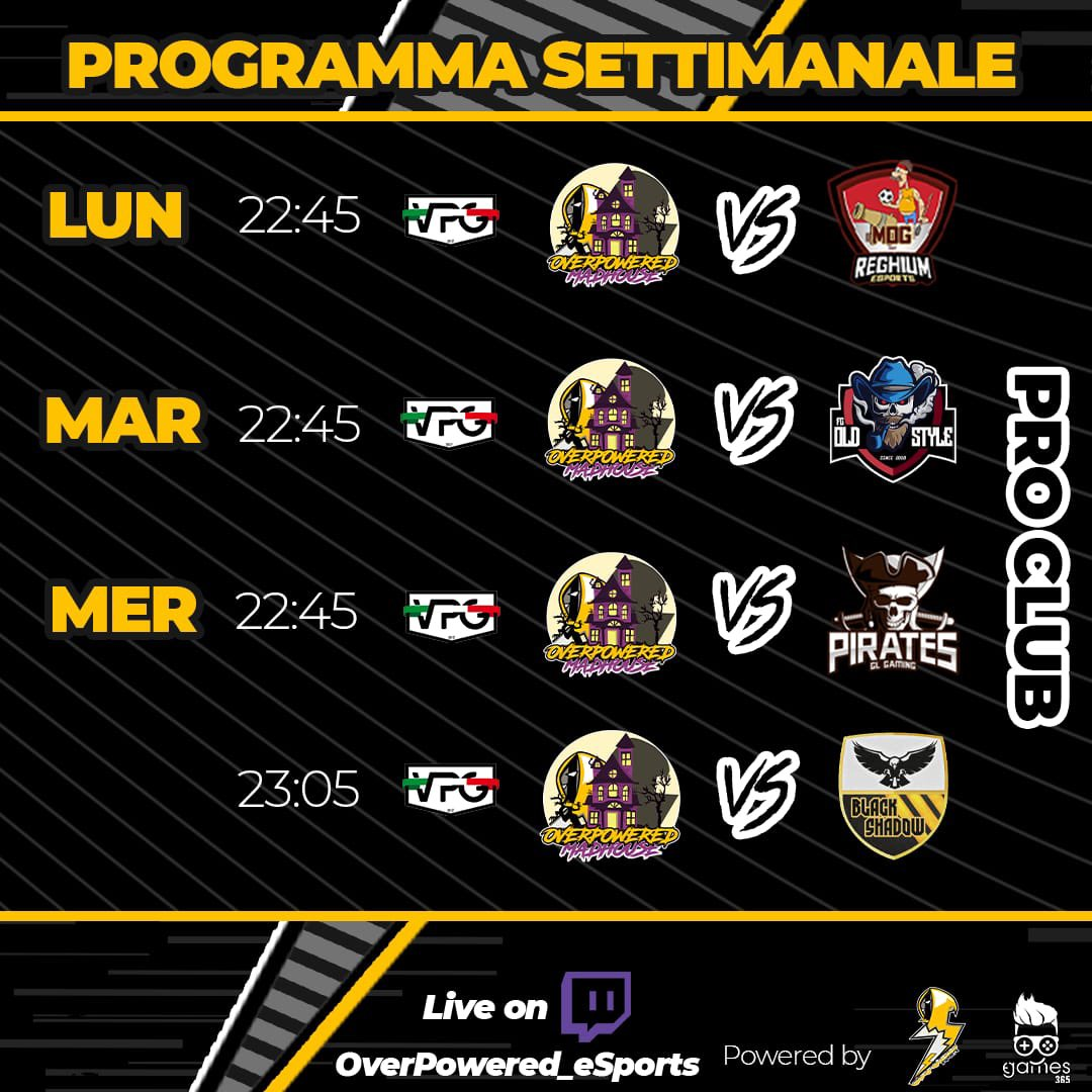 ⚽️WEEKLY MATCHES⚽  🏆 @VPG_Italy - #SerieB  🆚 @Gunners_Mad 22/02  🆚 @GLPirates 24/02  🆚 @BlackShadowFC 24/02  🏆 @VPG_Italy - #CoppaItalia  🆚 @FcOldStyle 23/02  #MadFerIt #OverPoweredTogether