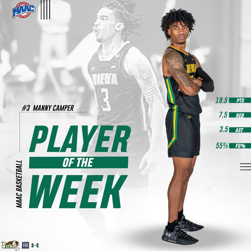 🏅 For the ✌️ time this season, @SienaMBB senior captain @_BigshotManny_ is the @MAACHoops Player of the Week Way to go, Manny❗️ 📰 bit.ly/3dXkCXj #MarchOn | #SienaSaints | #MAACHoops | #NCAAM | #Attack | #Finish | #EAT