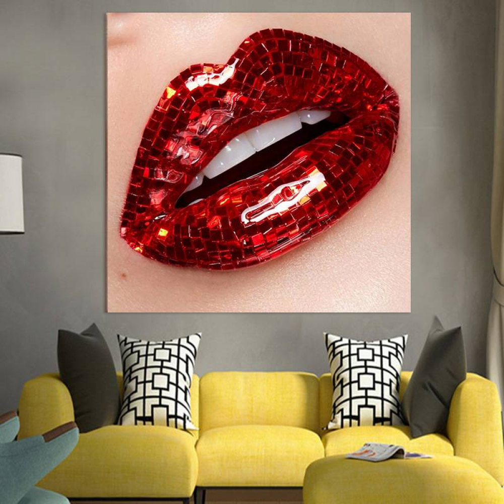 $21.16 Order link :  #saturdaymorning Shinny Red Lip Canvas Poster