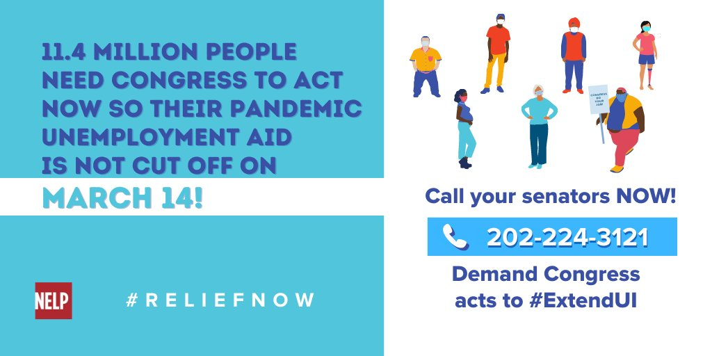 Tens of millions of people need the relief that's in the #AmericanRescuePlan. But the Senate must make a critical fix: #ExtendUI to at least Oct. 3 so unemployment aid doesn't lapse in August when Congress is on recess! Call your senators: 202-224-3121.