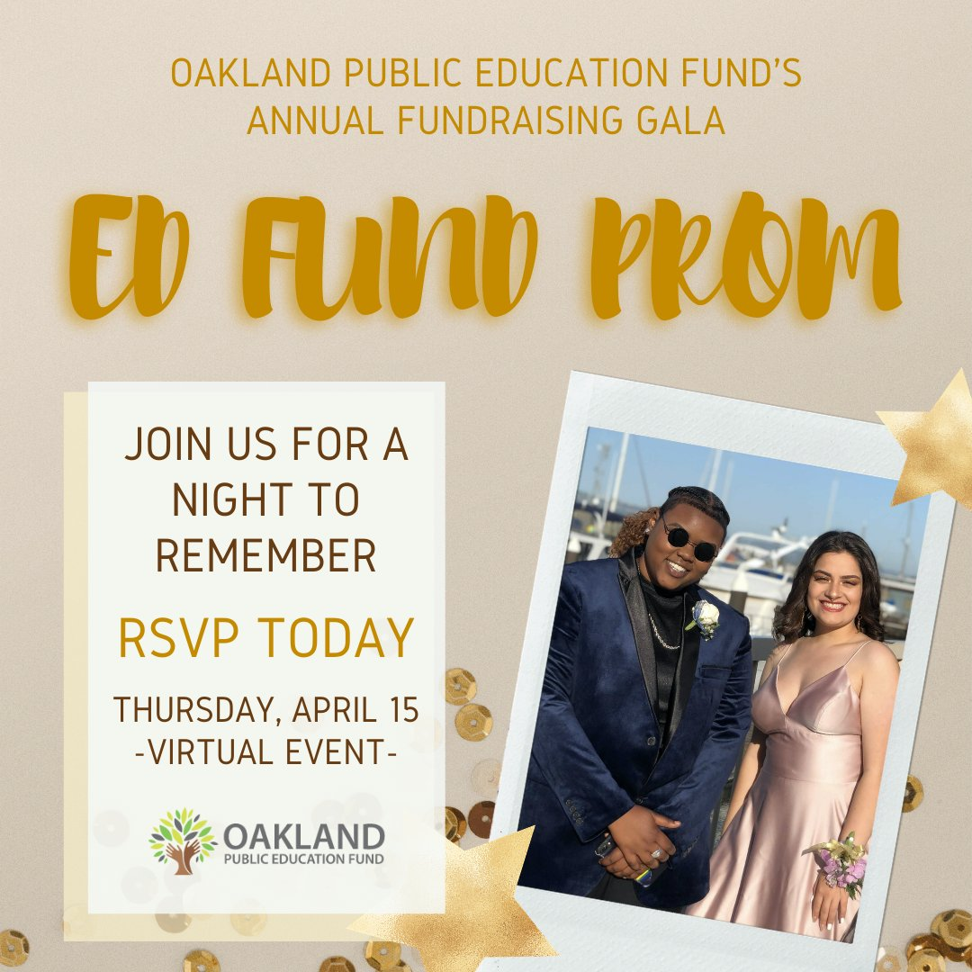 Join us on April 15th as we reminisce on prom memories while creating new ones! Reserve your tickets or sponsorship today at:    💻 🎉✨🎶📸 💫 #VirtualGala #BayArea #EdFundProm #OaklandEdFund #EdFundMagic