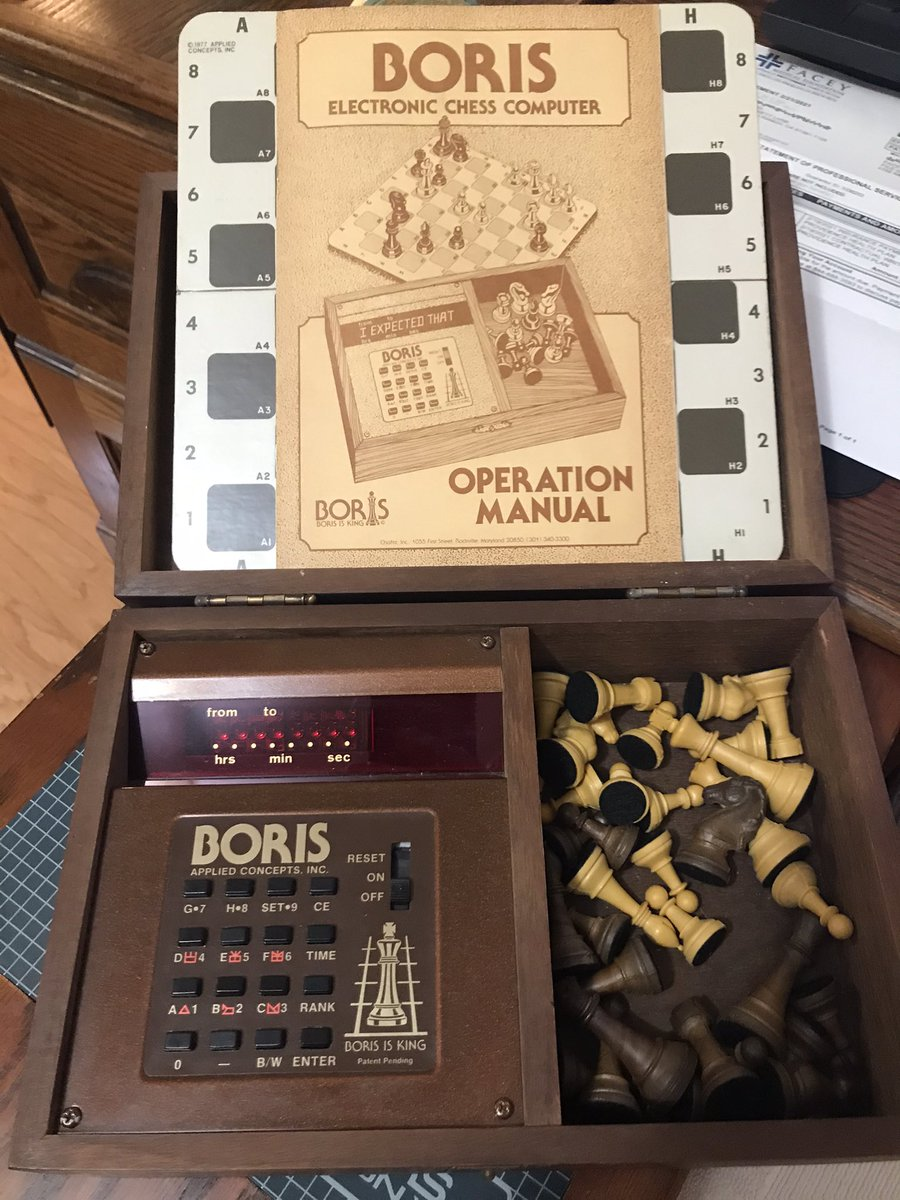 """#TBT #ThrowbackThursday Been meaning to dig this out for a while. This is """"Boris The Talking Chess Computer."""" I got it in early 1979 ($300!) after hearing that it had been endorsed by Bobby Fischer. The instructions, board, pieces & power adapter are all there. Let's plug it in."""