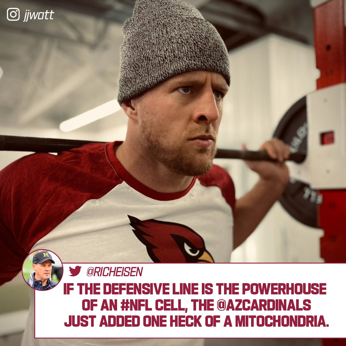 We see what you did there, @richeisen 💪😂  @JJWatt | @AZCardinals