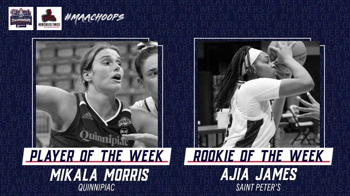 Quinnipiac's Morris and Saint Peter's James win the @HerculesTires Womens #MAACHoops Weekly Awards! 🏀 Mikala Morris - Player of the Week Ajia James - Rookie of the Week 📰: bit.ly/3kwzJIA #MAACSports #MAAC40