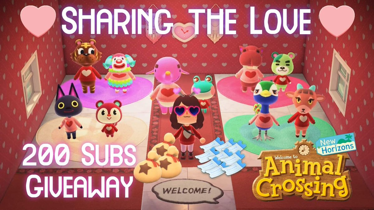 Today's #acnh @youtube #video we #celebrate #valentinesday w/ my #villagers ! Also, I hit 200 #subscribers which = #acnhgiveaway !    #AnimalCrossingNewHorizons #AnimalCrossing #giveaway #twitter #instagram #milestone @nintendo #nintendo #NintendoSwitch