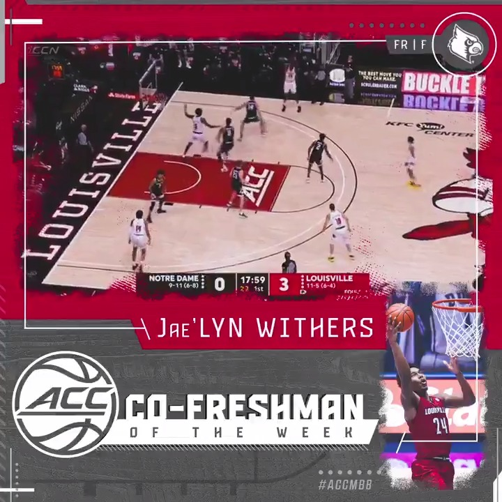 Big week for Jae'Lyn Withers‼️  He earns Co-Player of the Week honors after averaging 14.0 pts and 11.0 reb in two @LouisvilleMBB wins!  #ACCMBB | @jaelynwithers https://t.co/FwjgJPI3Vz