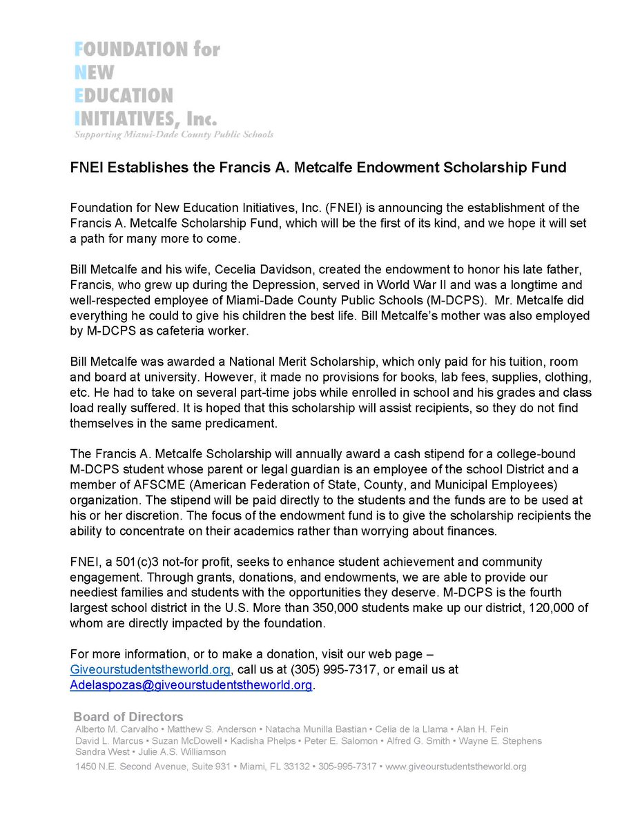 .@FNEIGives Establishes the Francis A. Metcalfe Endowment Scholarship Fund. #MDCPSFutureReady #ReachHigher