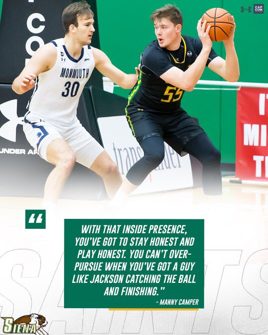 🗣 @_BigshotManny_ weighs in on why opposing defenses need to be mindful of where @JacksonStormo is at all times #MarchOn | #SienaSaints | #Attack | #Finish | #EAT