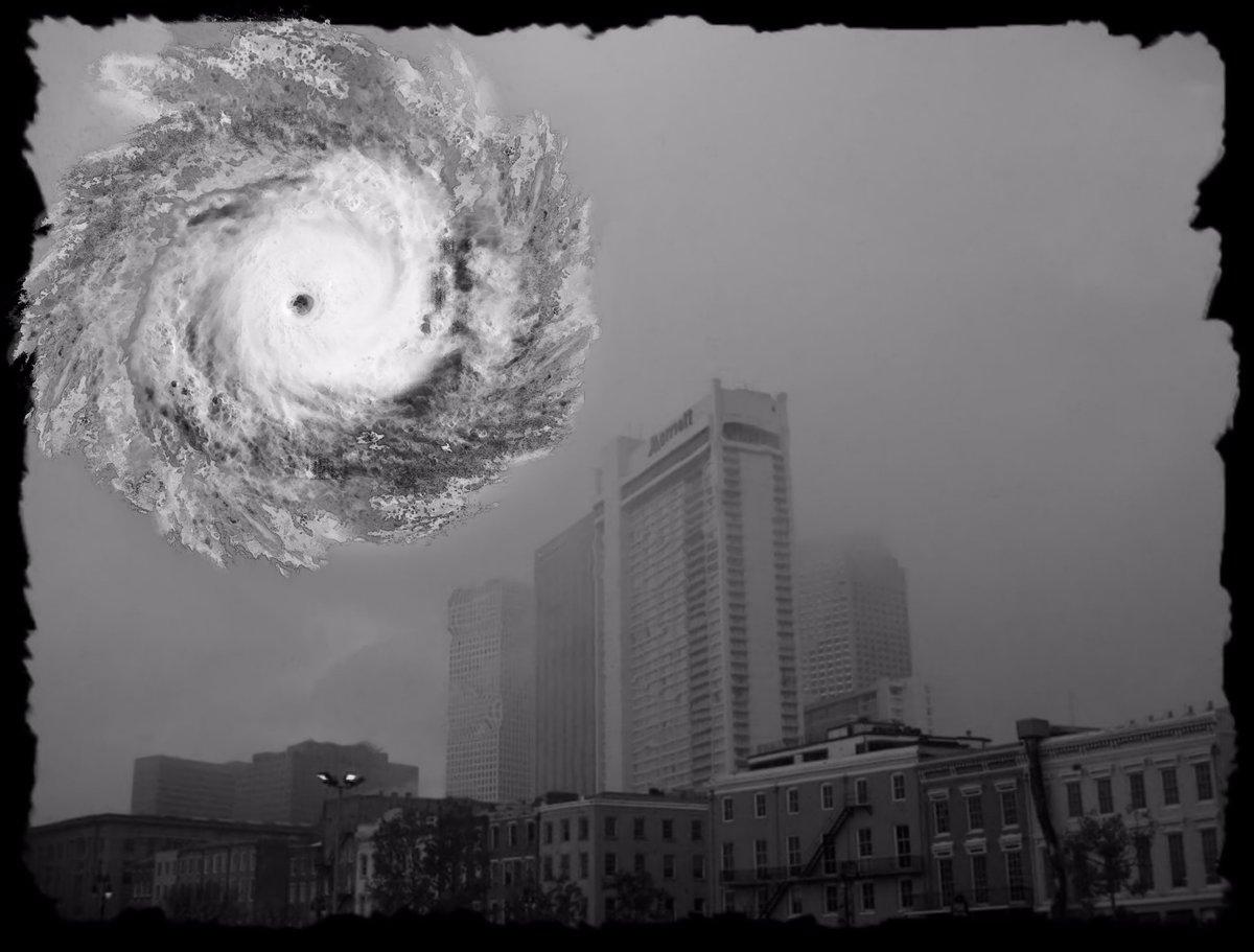 Decatur in the Fog (The Katrina Portraits 61)   Grey Cross Studios #art #climatechange #climatechangeisreal #climateaction #ClimateChangeart #extremeweather #climatechangeaction #dystopia #hurricanes #NewOrleans