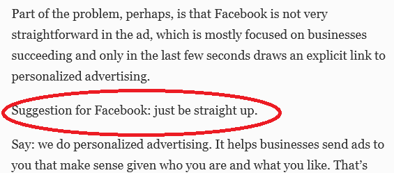 """""""Suggestion for Facebook: just be straight up."""" #perspective"""