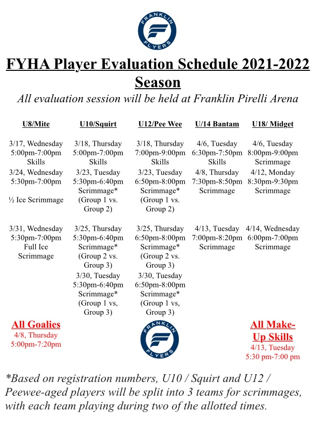 player evaluation schedule for the 2021-2022 season