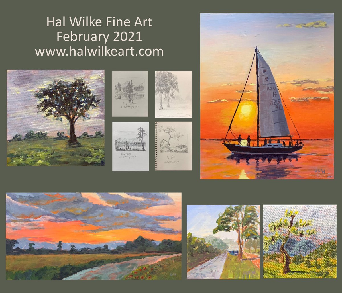February 2021. The #painting of Grace, the Columbia 50 #sailboat, was a #commission. The 3 little squares and the pencil #drawings are from my #100dayproject  #art #fineart #landscape #nature #hfw100days2021 #sunset #seascape #artforsale #artcollector #creativelife #creative