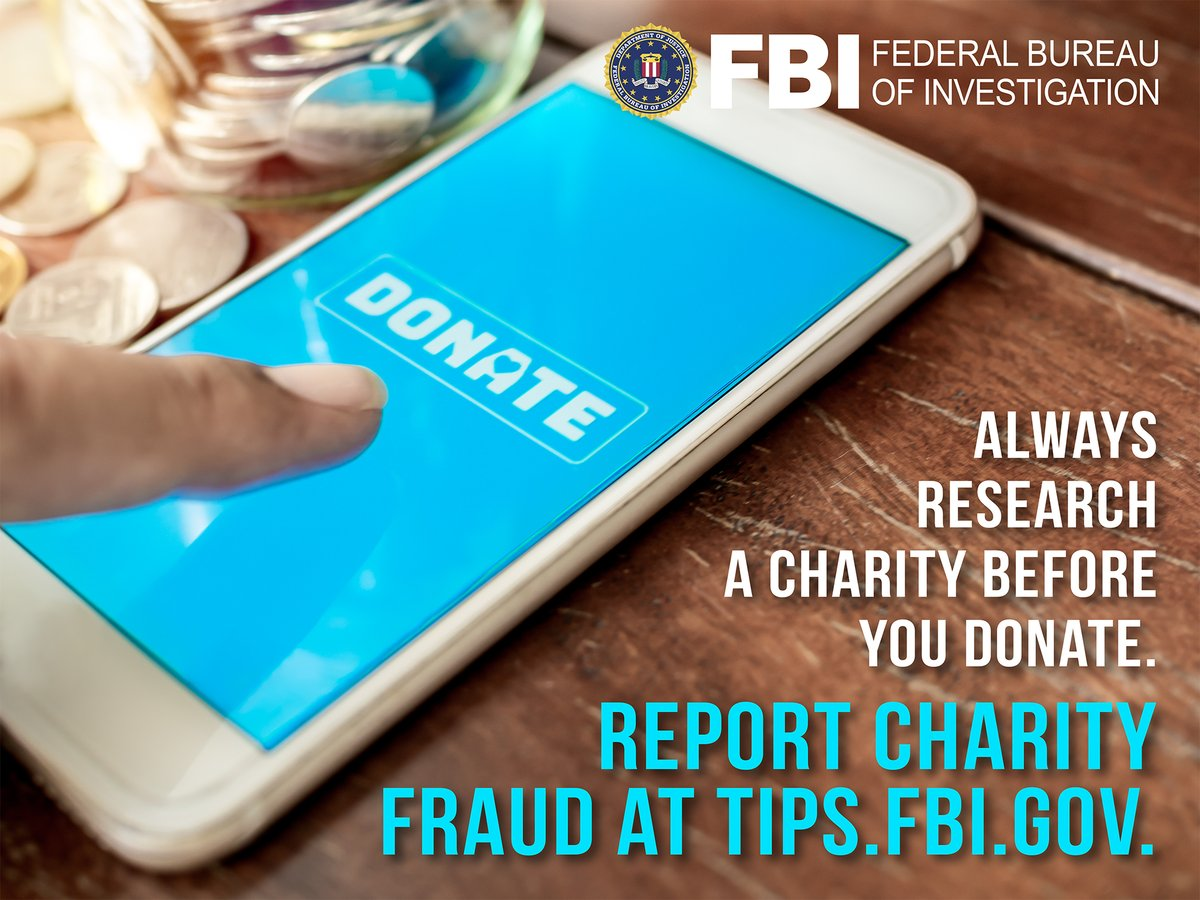 Beware of charity fraud.  ✔️Give to established charities or groups whose work you know & trust. ✔️Give using check or credit card- not cash, gift card, virtual currency, or wire transfer.  Learn more about how to protect yourself at .  #FBI #NCPW2021