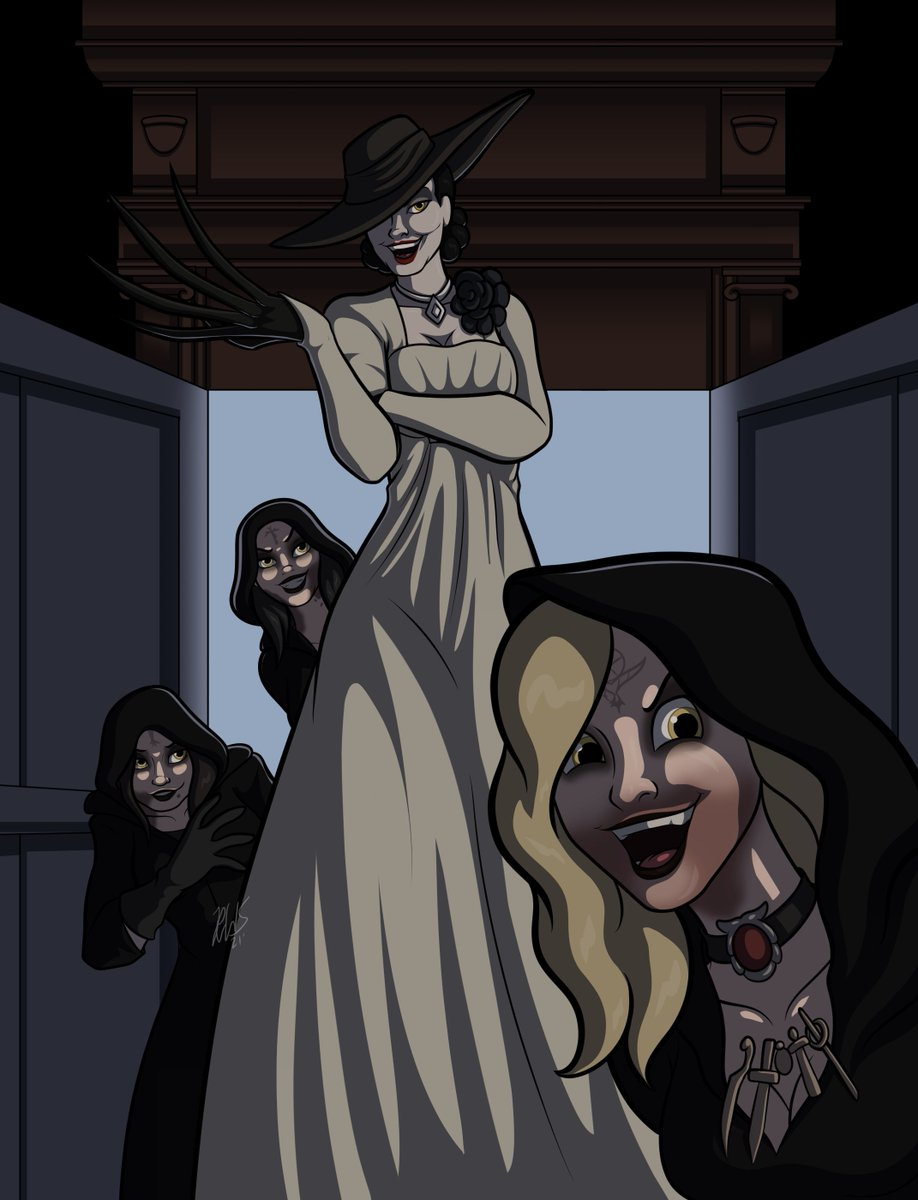 Now we're talkin! Enjoy the tall Vampire and her witches. XD © Capcom  #ResidentEvil #ResidentEvilVillage #LadyDimitrescu #tallvampirelady #vampirelady