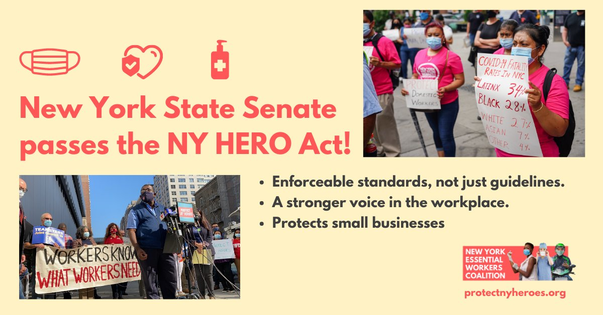 VICTORY: @NYSenate passes the NY HERO Act (S1034/A2681) with overwhelming support by a vote of 46-16! Now the Assembly must act and #ProtectNYHeroes: ✅Worker protections ✅Stronger voice in the workplace ✅Protections for small biz   ➡️