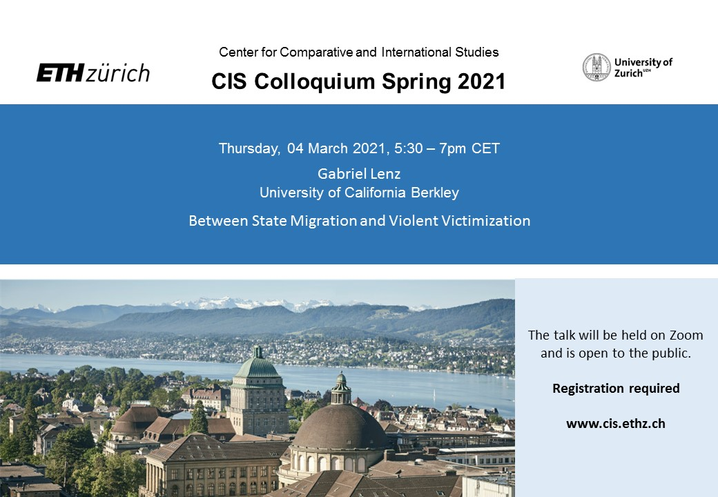 "We look forward to the talk by Gabriel Lenz on ""Between State Migration and Violent Victimization"" in this week's @CIS_ETH_UZH colloquium. Everyone is welcome. Sign up here: lets-meet.org/reg/3028edbfe5…"