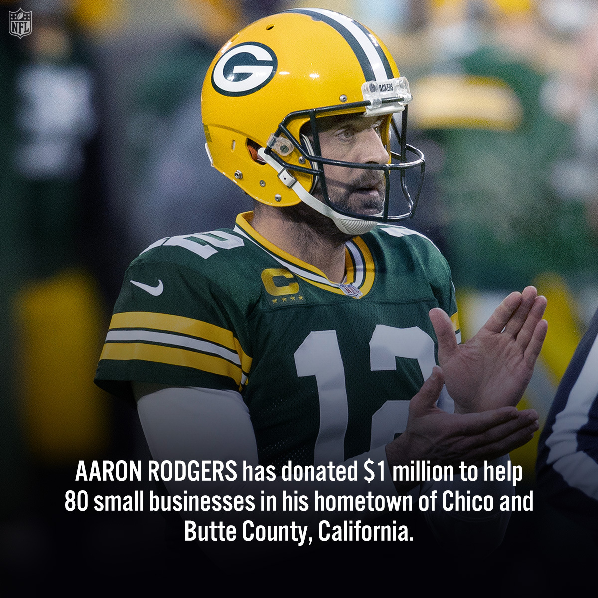 .@AaronRodgers12 donated $1 million to small businesses in his hometown. 🙏