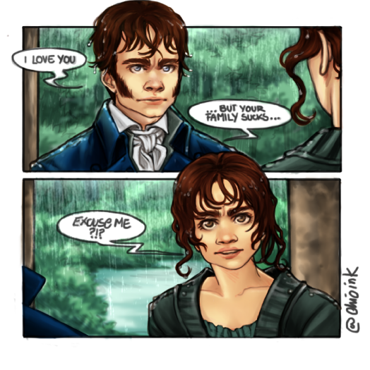 I saw this meme for #ValentinesDay of Darcy declaring his love WHILE accusing Lizzy´s family of being awful...I had to draw my version of it #PrideandPrejudice #lizzybennet #JaneAusten #darcy #meme #comic #fanart #wip #myartwork