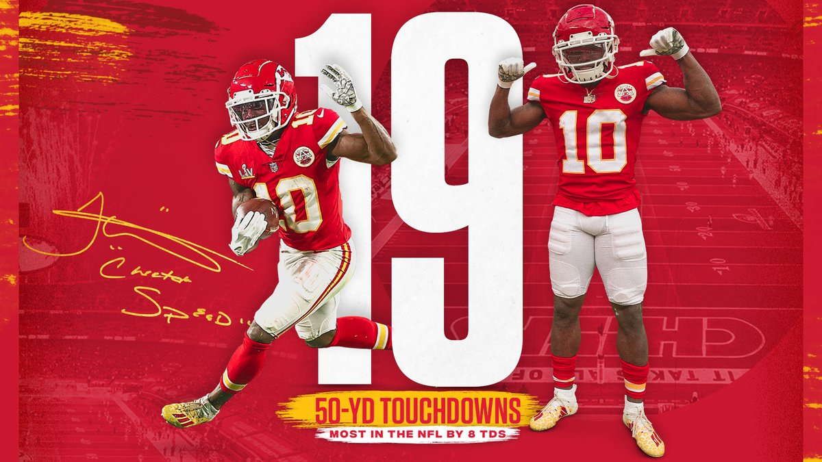 Since entering the league, no other offensive player can get close to Tyreek's explosiveness 🐆