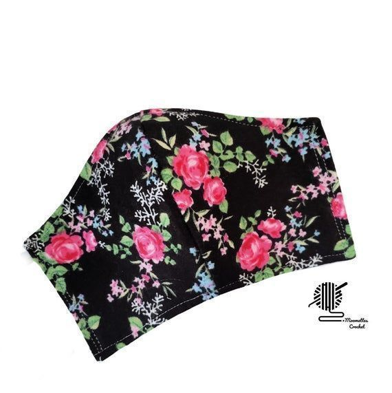 Pink #Floral Face Mask Flowers Black Cotton Flannel Breathable Adjustable Fitted #Facemask Cover Handmade USA   #etsyshop #etsyhandmade #shopsmall #facemasks #facemasksforsale #eastergifts  #springfashion #giftideas #boutiqueshopping #giftsforwomen