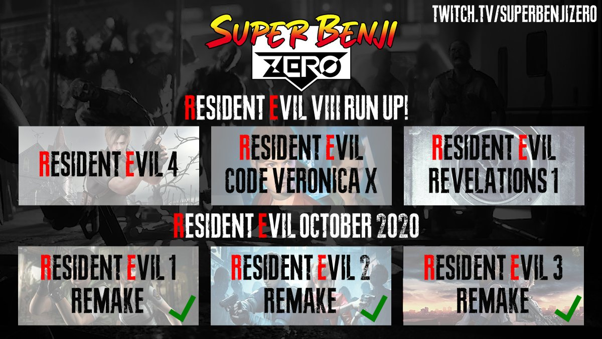 Hey! On the run up to the release of  #ResidentEvilVillage I'll be playing 3 more #ResidentEvil games over on my @SuperBenjiZero Twitch channel starting with #ResidentEvil4 tomorrow at 7pm.  If you're interested give my channel a like & pop along!