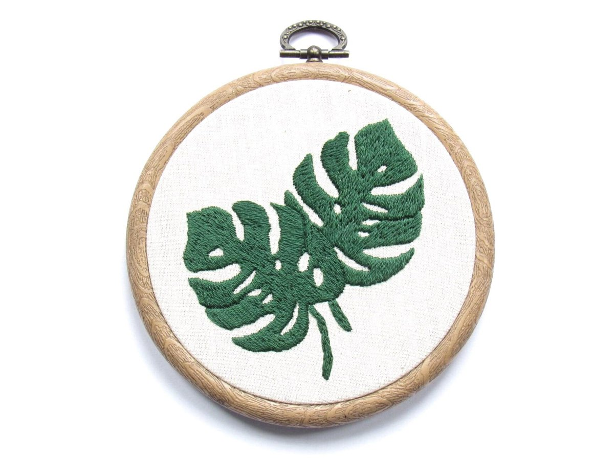 Excited to share this item from my #etsy shop:  Wall Art   Monstera Leaves   Leaf Art   Tropical Leaves   Framed Art   Hand Embroidery   Green Gifts    #monstera #tropical #leaves #wallart #handmade #walldecor #homedecor #giftideas #interiordesign